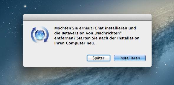 Nachrichten App deinstallieren und iChat erneut installieren