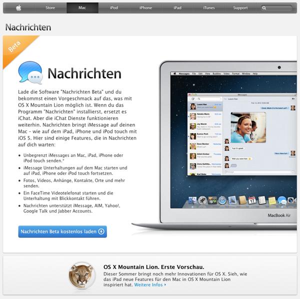 Die Nachrichten App für Mountain Lion als Beta laden