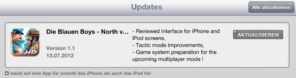 Aktuelles Update für die iPad Version