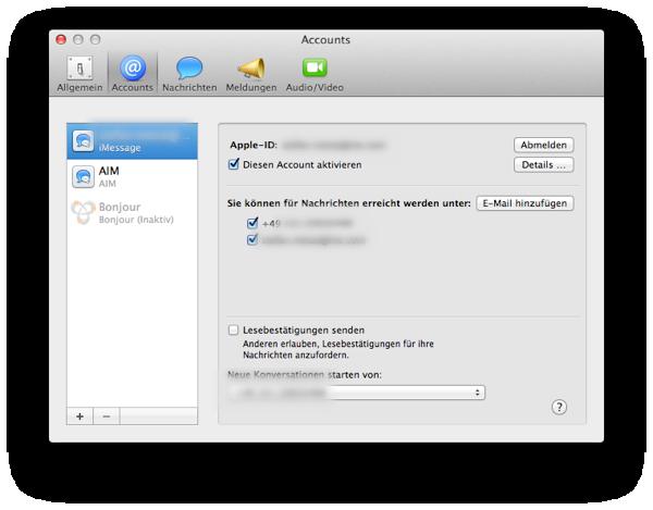 iMessage Apple ID und Handynummer