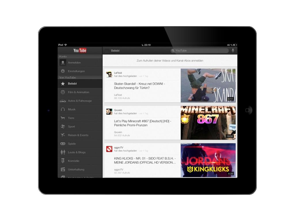 YouTube App für das Apple iPad