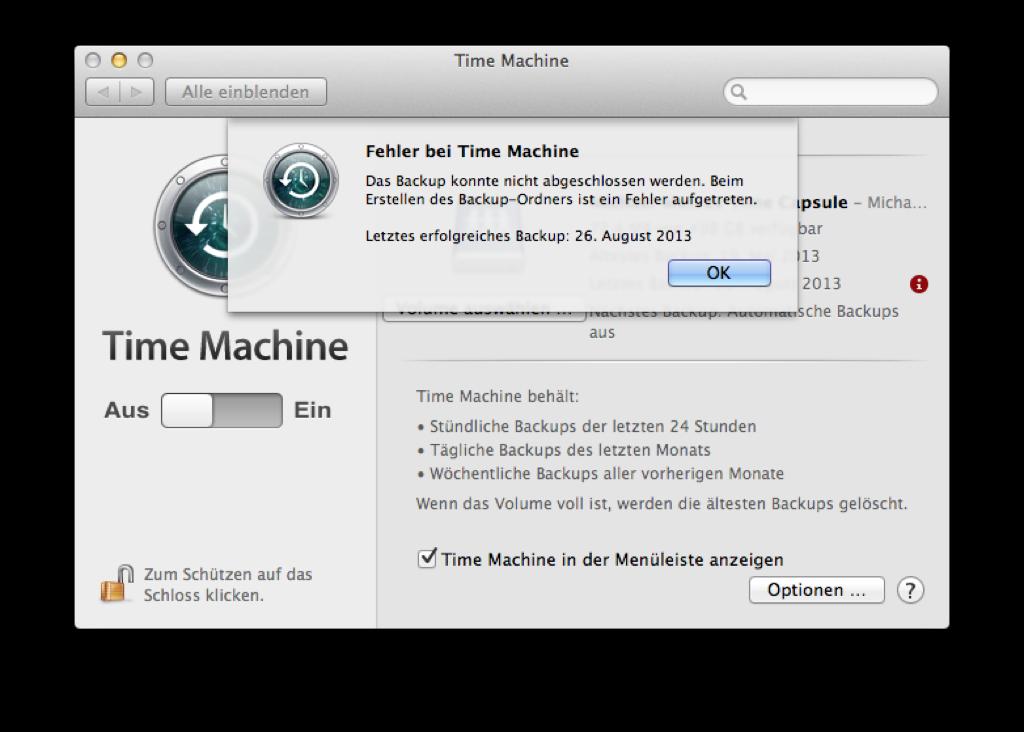 Fehler bei Time Machine