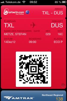 Flugticket in der Apple Passbook App auf dem iPhone